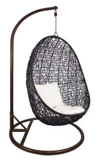 SALE! Black swing chair with white cushion