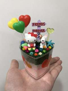 🎈SALE! Friends Forever Hello Kitty with Sporty Dog Frozen Flowers For you Cute Terrarium Deco Heart-shaped Plastic Pot