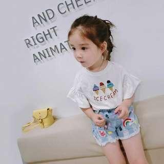 🚚 春夏新款 韓版 女童刺繡冰淇淋短袖蝴蝶袖上衣