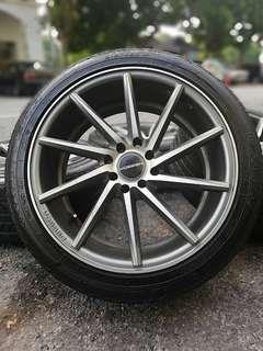 Vossen 17 inch sports rim persona tyre 70%. *kuat kuat murah*