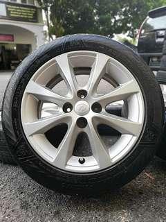 Original sports rim alza 15 inch tyre 70%. *murah melampau*