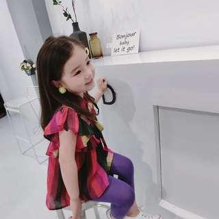 🚚 韓版 春夏新款 女童復古風不規則撞色上衣