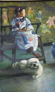Chinese painting with girl and dog
