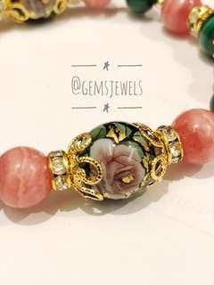 Stone of Transformation - Malachite, Rhodochrosite and Tensha Beads