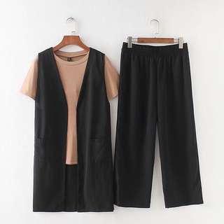 (XL~5XL) 2018 fashion suit Korean version of the loose waist wide leg pants three sets