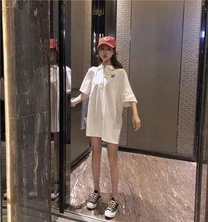 Ulzzang Loose Mid Length Sleeve polo Tshirt dress