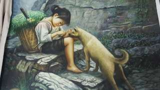Chinese painting of girl and dog