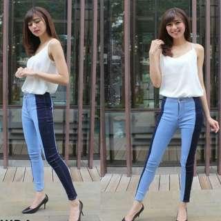 Celana jeans highwaist two tone stripe blue