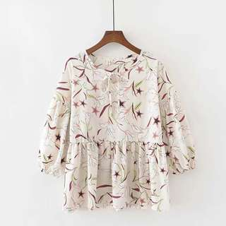 (XL~5XL) Summer Wide Print Women's Cropped Sleeve T-Shirt