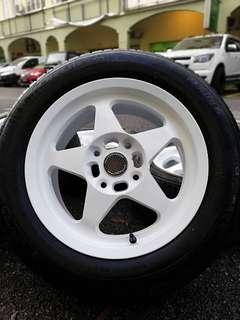 Spoon sports rim satria neo 15 inch tyre 80%. * sports rim ini telah didoakan kepada bakal pembeli akan mudah mendapat cahaya mata*