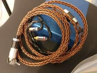 8絞冷涷單晶銅銅合金(手作線)耳機升級線20awg可做鍍銠 鍍金  2.5 3.5 灣直頭 mmcx 插fender campfire shure westone shure