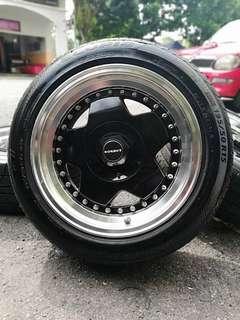Borbet 15 inch sports rim saga flx tyre 70%. *murah melampaui batas!! *