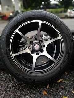 Vossen cv6 14 inch sports rim axia tyre 95%. *sports rim ini telah didoakan kepada bakal pembeli akan menjadi bijak pandai *
