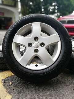 Original sports rim myvi 14 inch tyre 98%. * murah meriah seperti dipagj syawal!! *