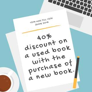 40% Discount on a Used Book with the Purchase of a New Book - From 13th May to 13th June 2018