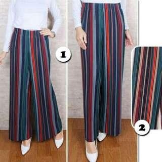 Celana panjang zara kulot garis plisket pants