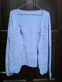 🚚 天空藍  針織 外套罩衫(F)