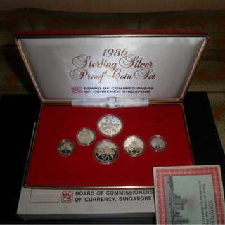 1986 Singapore Silver Proof Coin Set (Extra Large $1 Silver Proof Coin)