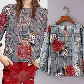Summer houndstooth print loose women's casual tops