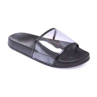 Transparent slides slip-on slippers