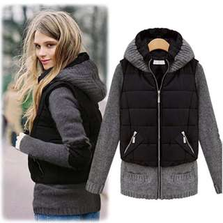 (S~2XL) European fashion wild fake two solid color cotton hooded Slim cardigan jacket coat