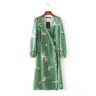 European and American style green print V-neck cross-style lace kimono dress