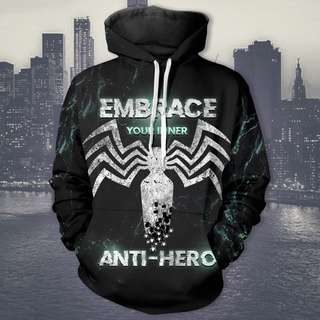 Marvel Anti-Hero Unisex Hoodie Venomous Spiderman Embrace