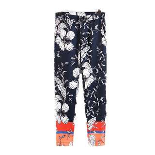 Europe and the United States positioning flower print spell color high waist casual fashion carrot pants