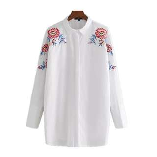 Europe and the United States wind shoulder heavy embroidery long-sleeved long-sleeved shirt
