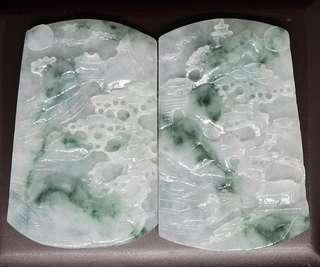 冰種飄花對裝山水牌(緬甸A貨,非A包退)