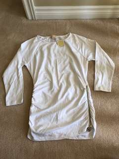 Michael Kors White Sweater with Zipper Detail NWT