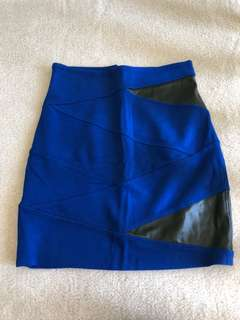 Aritzia Talula Leather Panel Cobalt Skirt