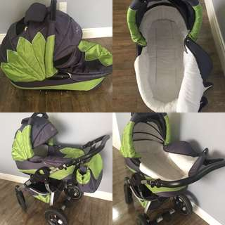 Stroller with a bassinet and walker and diaper bag