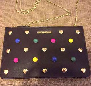 Moschino heart ❣ stud clutch bag