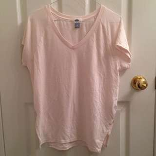 OLD NAVY Light Pastel Pink Plain T-shirt/shirt/tee/V-neck top/clothes/clothing