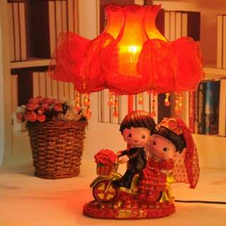 Couple Red Bedside Lamp - Red Lang Man Yi Shen Size 42cm