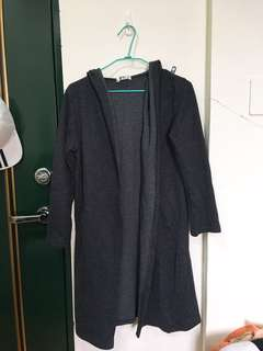 🚚 鐵灰色棉質長版外套