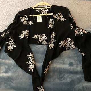 Forever 21 Black Embroidered Jacket NWT