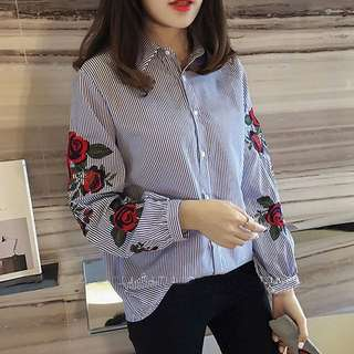 Blue striped dress shirt/blouse with long floral rose embroidery sleeves