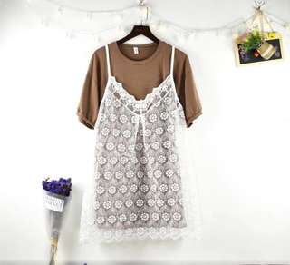 BN 2 Piece Dress in Khaki (Lace Overlay)