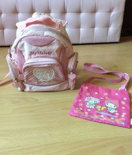 My Melody Cute Pink Backpack 🎒 plus( Free Sling bag)