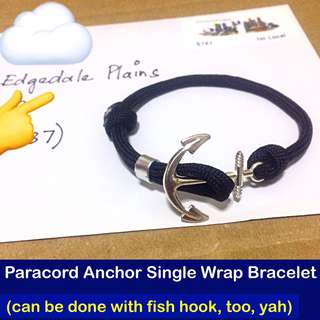 Paracord Anchor / Fish hook Single Wrap Bracelet, free size (Paracord550 adjustable unisex bracelet; still can make to your wrist size for good fit) [uncle anthony] FOR MORE PICS & DETAILS, 👉 http://carousell.com/p/163752458