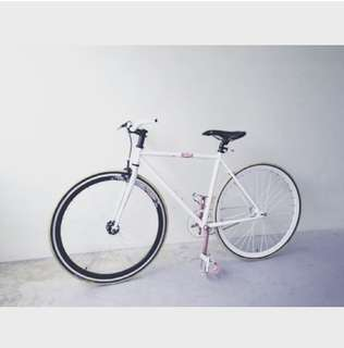 White/pink fixie city bicycle for sale