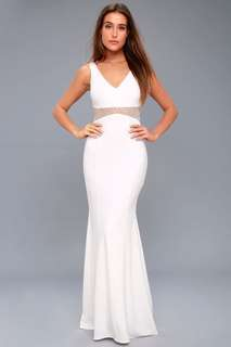 LUELLA WHITE BEADED MAXI DRESS