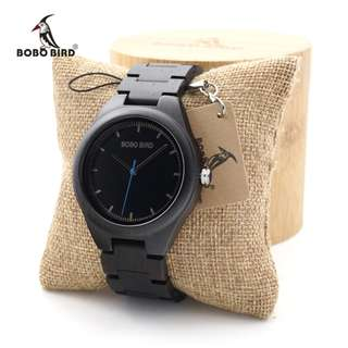 BOBO BIRD Ebony Wooden watches Quartz Dress Wristwatch Analog Japanese Movement clock With Wood links In Bamboo Box