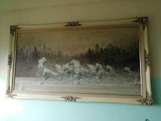 8 white horses oil painting on canvas framed