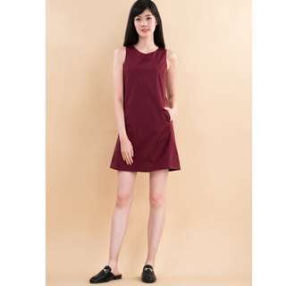 Ninth Collective JANNA SHIFT DRESS IN WINE RED in XS