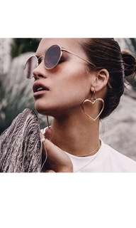 Statement heart hoop earrings gold, rose gold or silver.