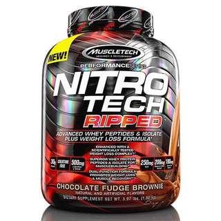 Nitrotech Ripped , whey protein + fat burner formula