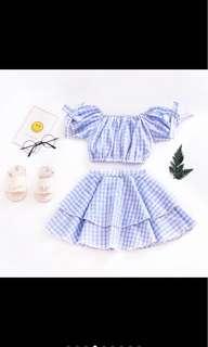 Baby girl kid crop top skirt set toddler